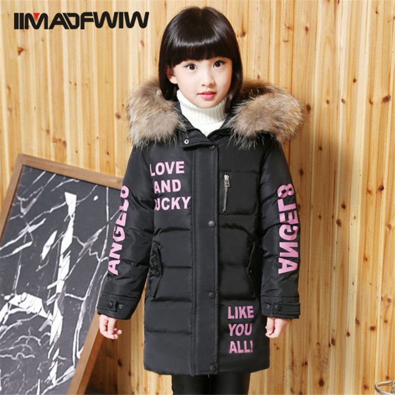 ФОТО 2016 New Girls Down Jackets Winter Outerwear Coats High Quality Thick Warm Big Fur Collar Letters Overcoat Child Outer Clothing