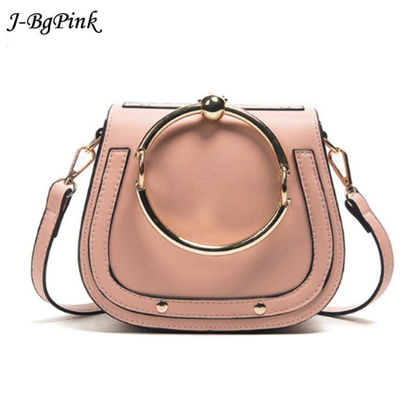Fashion Designer European Style Women Handbag Casual Metal Ring Saddle Lady Crossbody Bag Simple PU Leather Shell Messenger bag dtbg pu leather women handbag fashion european and american style totes messenger bag original design briefcase zipper 2017
