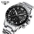 2017 New LIGE Luxury Brand Watches Men Six pin Full Stainless steel Sport Quartz Watch Man Waterproof Leather Clock Wristwatches