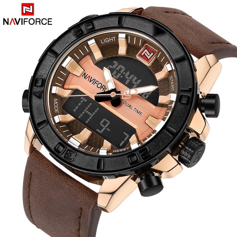 Dual Display Digital Quartz Watch Men's Waterproof Sport Watch Leather Band