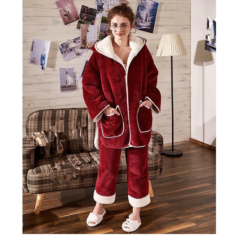 Conjuntos de pijama de flanela feminina de manga comprida calças terno quente coral veludo feminino terno sólido inverno moda com capuz pijamas - 6
