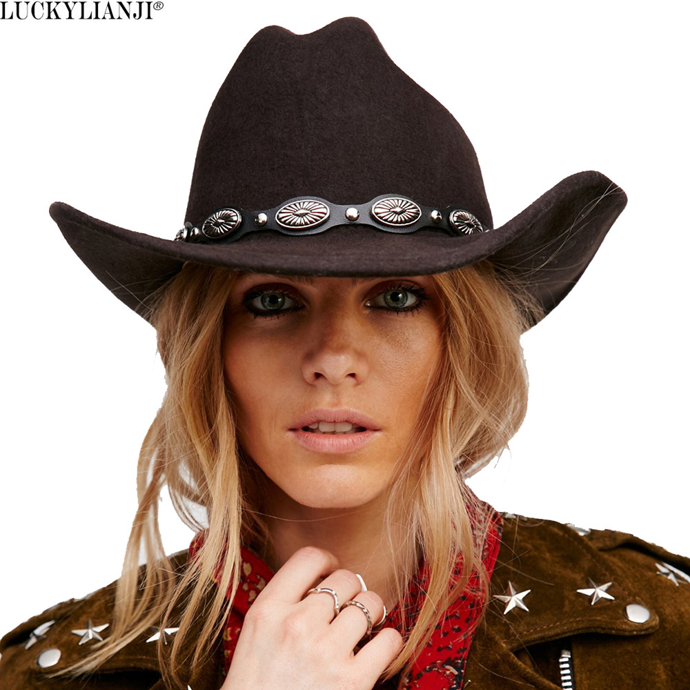 LUCKYLIANJI 100% Wool Felt Women Men Western <font><b>Cowboy</b></font> <font><b>Hat</b></font> With Wide Brim Punk Leather Belt Jazz Cap (One Size:57cm/US 7 1/8) image
