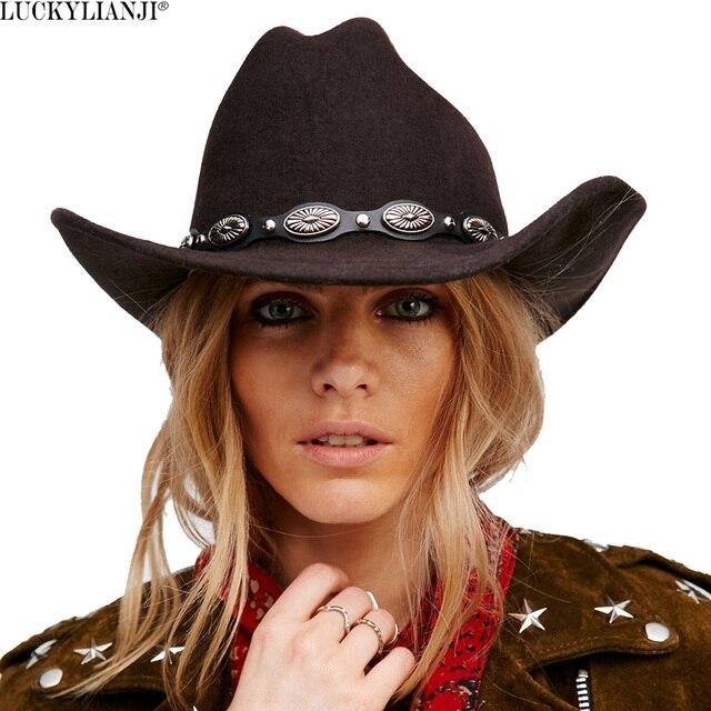 LUCKYLIANJI 100% fieltro de lana los hombres y las mujeres vaquero  occidental sombrero con ala fba1c239d6a