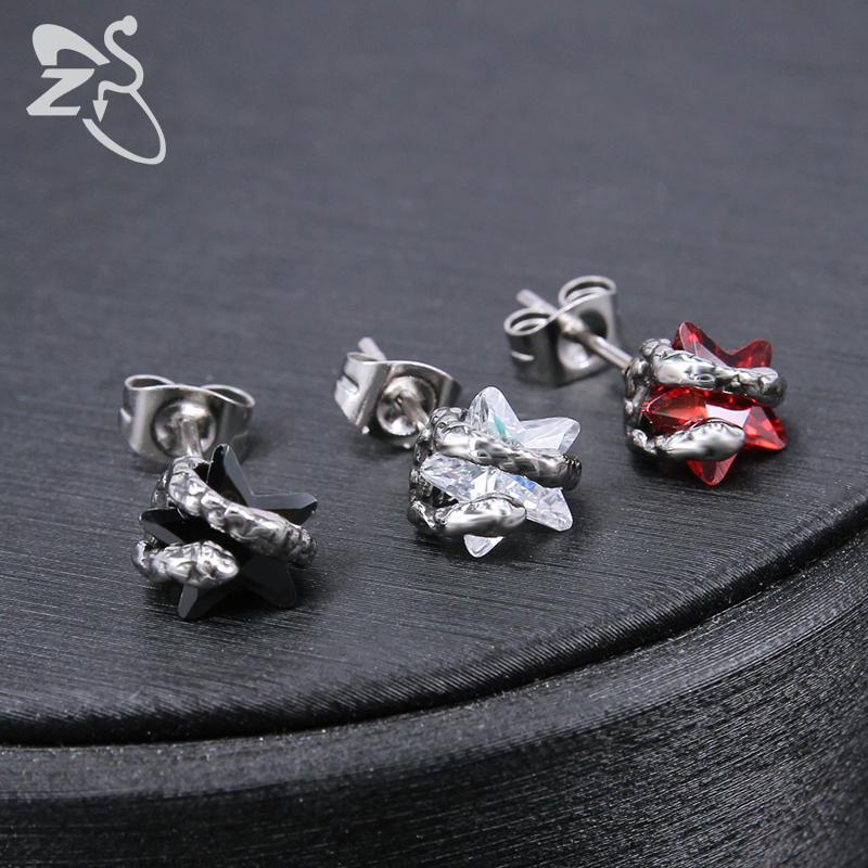 ZS Punk Rock 316L Stainless Steel Stud Earrings for Men 2 Pcs Hip Hop Skull Earring with Red CZ Stone Male Biker Gothic Jewelry in Stud Earrings from Jewelry Accessories