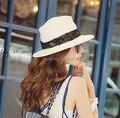 Nueva Solid verano de adultos sombrero Anti ultravioleta grande ala del sombrero de paja del verano femenino casquillo de la playa grande a lo largo del Sunbonnet sol