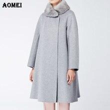 Женское зимнее пальто и пальто, свободный меховой воротник, элегантное теплое Современное женское Шерстяное Пальто, Длинная женская осенняя верхняя одежда, куртки, накидка