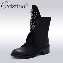 Odetina Fashion Brand Winter Mid Kalf Laarzen Vrouwen Ronde Teen Vierkante Hoge Hak Rusland Snowboots Lace Up String Bead warme Schoenen(China)