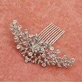 Elegante Cristal Strass acessórios Do cabelo do Casamento Da Noiva Nupcial Floral Cabelo Pente Cabeça Pieces cabelo jóias de Strass Cristal