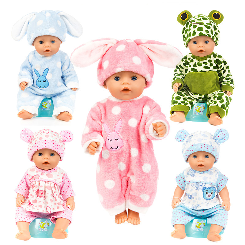 Doll Clothes Plush Siamese Animal Pyjamas 41cm Baby Clothes Rebirth Doll Suitable For 18 Inch Dolls Children Clothes