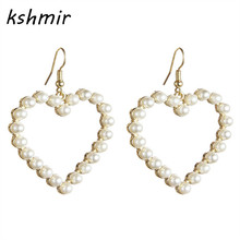 kshmir Fashion accessories Pearl combination Sweet and lovely Pearl hollow out Peach heart earrings earrings