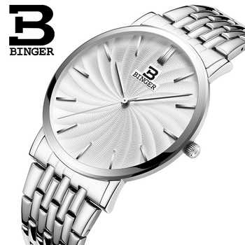 Switzerland BINGER Men\'s Watch Luxury Brand Quartz Full Stainless Strap Ultrathin Wristwatches Waterproof Male\'s clock B3051M