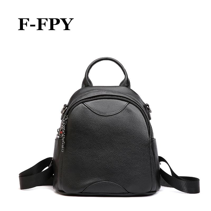 F-FPY Hot femmes petits sacs à dos en cuir de vachette véritable femme sac à bandoulière mode filles voyage sac décontracté étudiants sac d'école