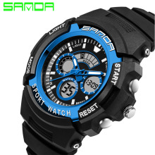 New SANDA Luxury Brand Men Military Sports Watches Digital LED Quartz Wristwatches Rubber Strap Relogio Masculino