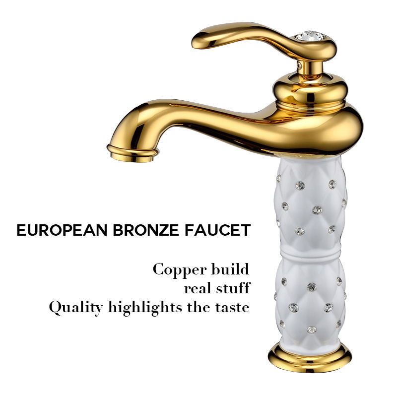 European Diamond Basin Faucet Cold And Hot Copper Antique Plating Golden Single Handle Vanity Hole Mixer ZT12 micoe hot and cold water basin faucet mixer single handle single hole modern style chrome tap square multi function m hc203