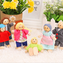 Happy doll family miniature 6 people set toy wooden jointed dolls children muppet pretend toys story-telling dressed characters