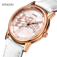 Unique Woman Quartz Analog Watch Musical Style White Leather WristWatch Fashion Ladies Gift Shell Dial Rose