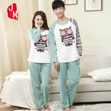 Spring Autumn Long Pajama Set Sleeve Home Wear Lovers Man Woman Cartoon Animal Hibou Pyjamas Casual Couple Sleepwear Suit