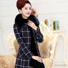 Cashmere Overcoat Female 2016  Autumn Winter Fashion Women Wool Coat Fur Collar Woolen Outerwear Long Overcoat Plaid Plus Size