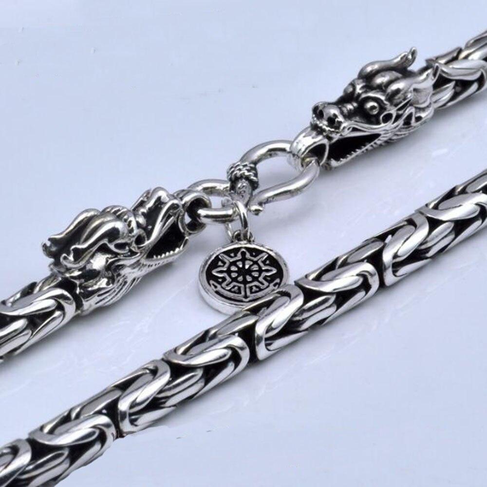 YKNRBPH S925 Hommes Chaînes de 925 Sterling collier en argent Hommes Dragon Fermoir Lourd Épais collier À La Main Thai Argent Bijoux