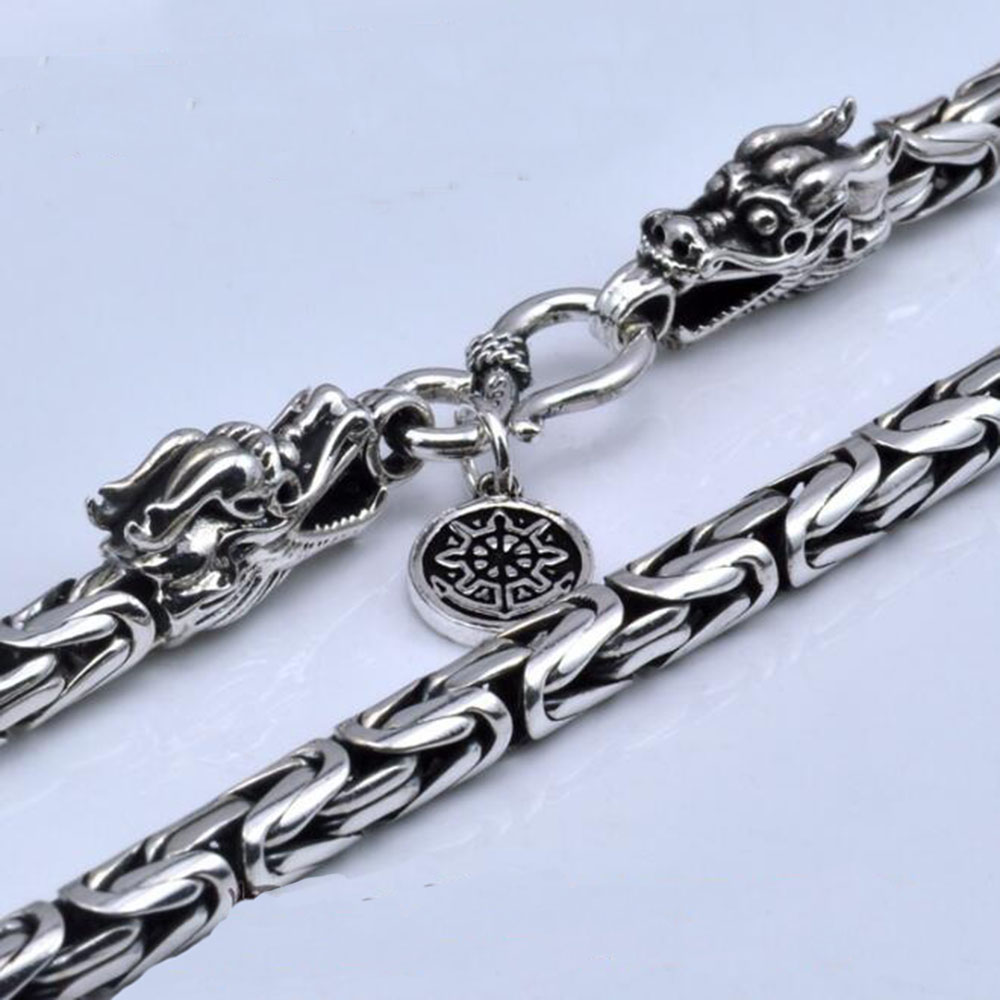 YKNRBPH S925 hommes chaînes 925 en argent Sterling collier hommes Dragon fermoir lourd épais chaîne collier fait à la main Thai argent bijoux