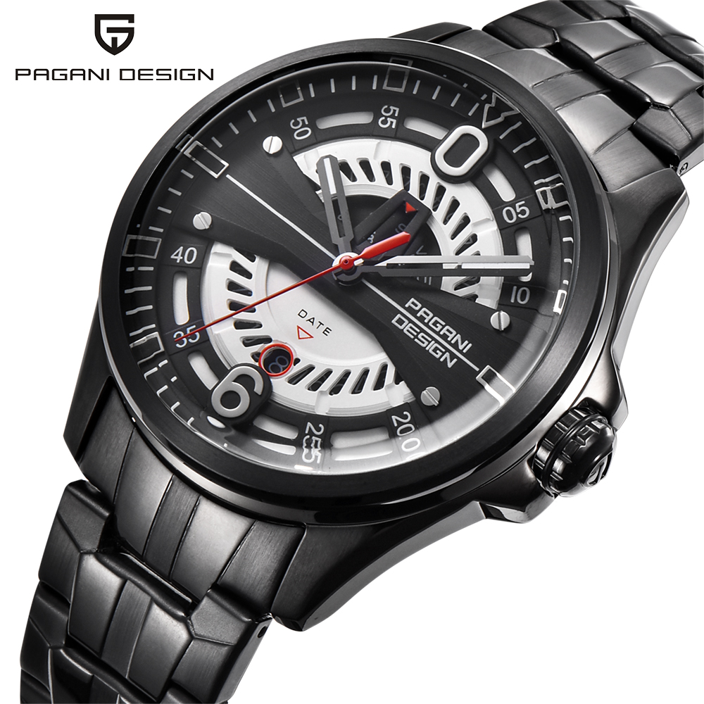 PAGANI DESIGN Luxury Brand Men's Quartz Sports Watches Man Stainless Steel Hollow Face Date Clock Men Fashion Waterproof Watch pagani design chronograph watch men cool stainless steel genuine leather strap fashion army quartz date men watches luxury brand