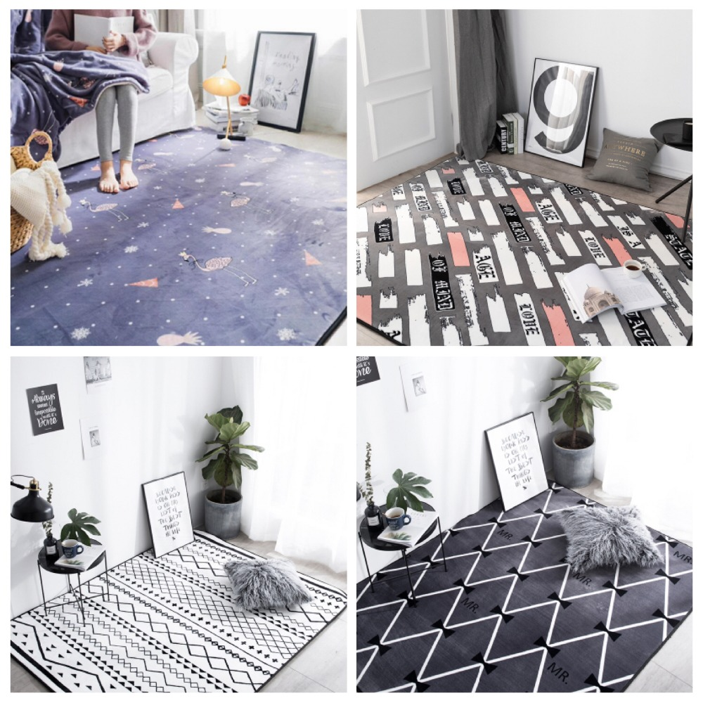 Pink series Carpets Nordic style Flamingo 3D Printed Carpet Living Room coffee table Indoor Rug Bedroom Rectangular Floor Mat in Carpet from Home Garden