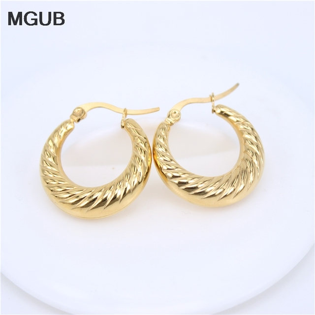 Mgub 23mm New Stainless Steel Jewelry Gold Color Circle Creole Earrings Round Wives Hoop