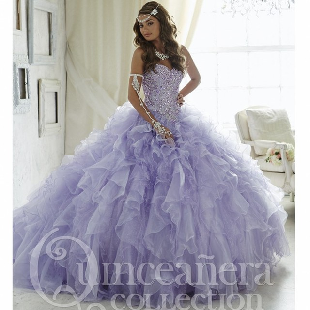 cd6b5b4f3ba Princess Lilac Quinceanera Dresses Beading Bodice Coral Organza Ruffles  Masquerade Dress Vestido 15 Sweet 16 Party Ball Gowns