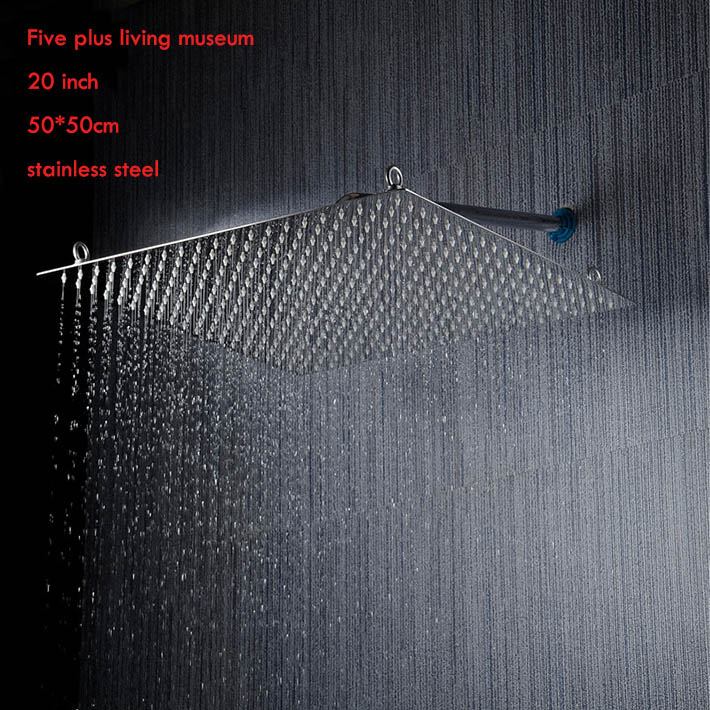 20 inch 50*50cm square 304 stainless steel anti rust ultra thin rainfall shower head ,bathroom accessories ,mirror finishing