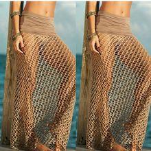 2016 New Fashion Bohemian fishnet Beach Skirt Women's Crochet Maxi Skirts Long Beach Cloth Cover Ups Sexy Beach Wrap Beach Wear