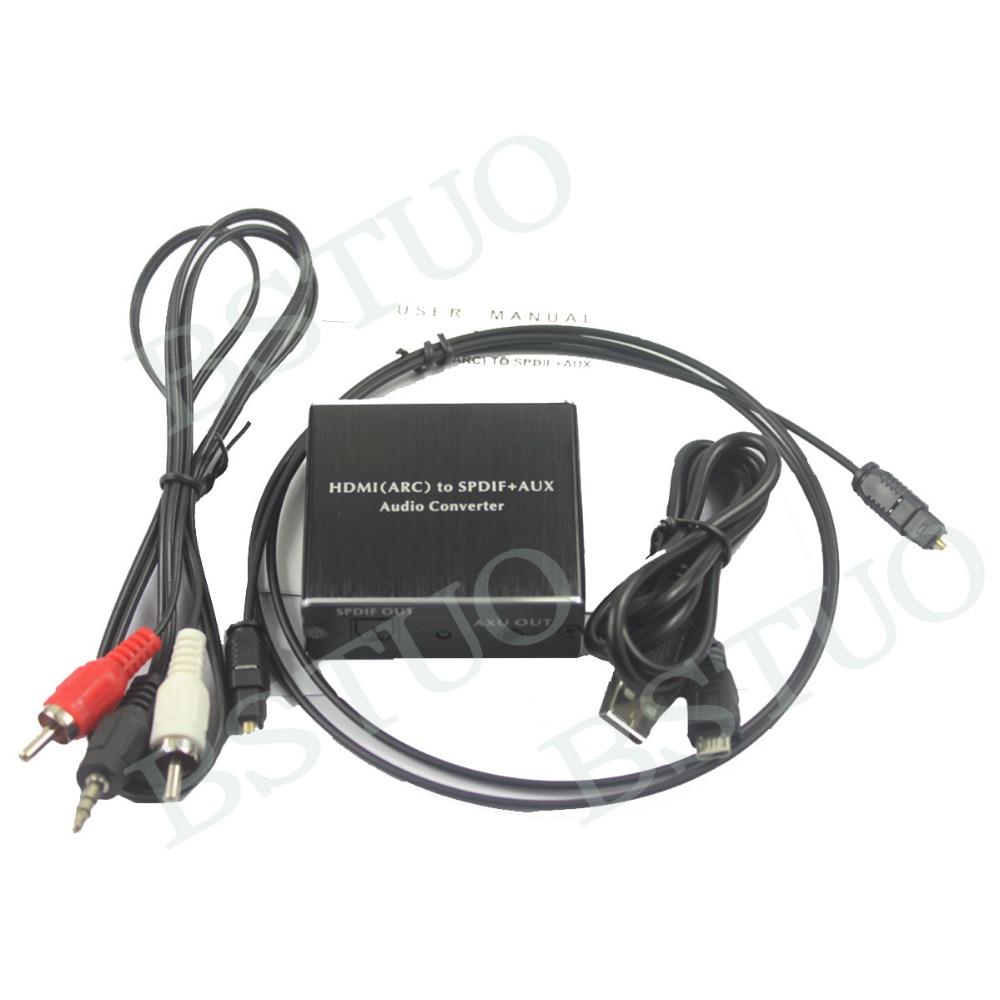 HDMI(ARC) To SPDIF+AUX Audio Converter HDMI ARC Audio Converter 192KHz W/ Toslink Cable 1m