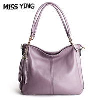 MISS YING Brand Women Genuine Leather Casual Shoulder Bag Designer High Quality Messenger Bags Ladies Tassel