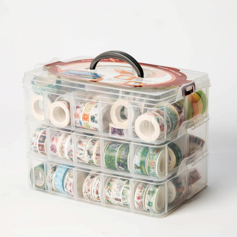 1 Pcs PP MultiFunction 3 Layers 18 Grids Washi Tape Storage Box Transparent Tool Set Box Accessories Handcarry Stationery Holder