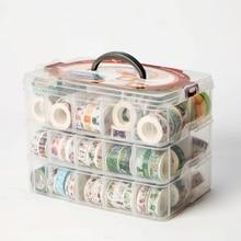 1 шт. PP многофункциональная 3 слоя 18 сеток васи лента коробка для хранения прозрачный набор инструментов коробка аксессуары ручной держатель для канцелярских принадлежностей