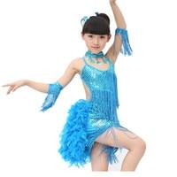 YENI Kız Köpüklü Sarı Işık Mavi Gül Payetli Fringe Salsa Dans Çocuk Dans Kostüm Türkiye saç Dans Elbiseler Giymek