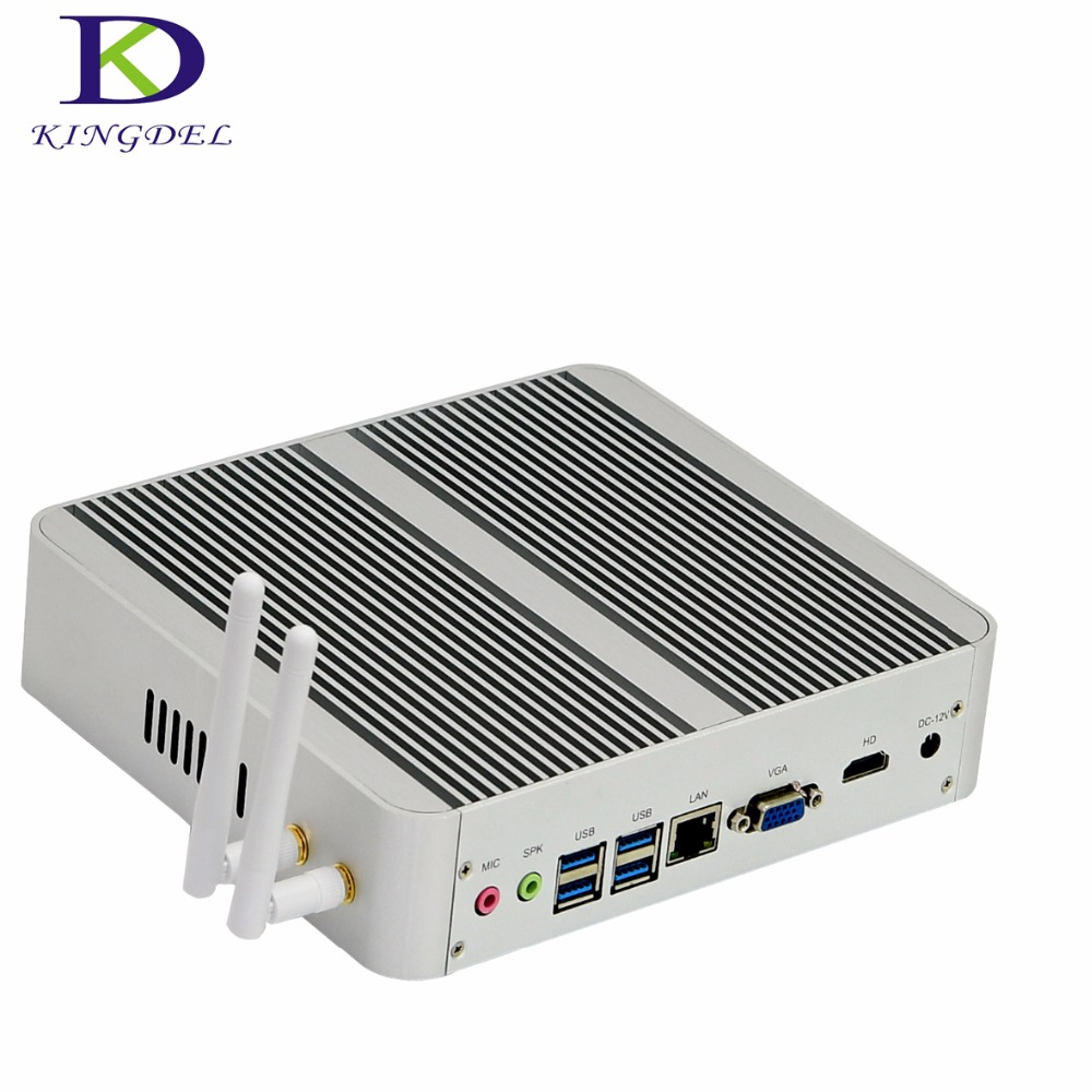 Kingdel Fanless DDR4 Mini PC Core I5 6360U Intel Iris Graphics 540 Max 3.1GHz Nettop Computer With HDMI VGA 4*USB3.0 16G+256G