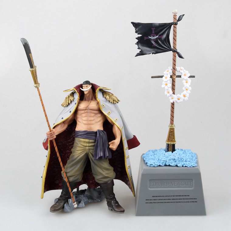 New anime one piece edward newgate & tombstone white beard emperors pvc action figures collectible model toy 2pcs freeshipping 35cm japanese anime one piece pop edward newgate pvc action figures toys in box retail free shipping