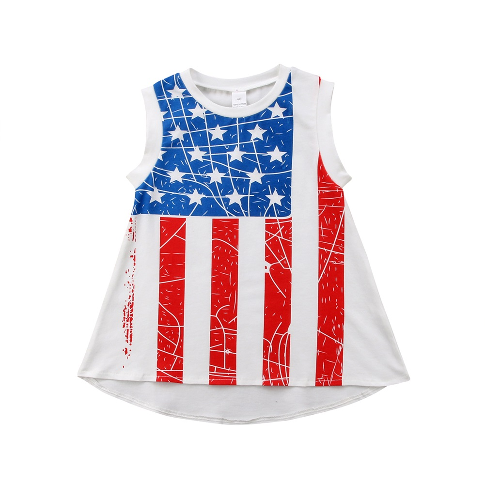 21a2c696e Fashion Toddler Kids Baby Girl Clothes Sleeveless Striped Flag Print ...