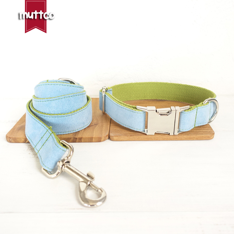 50pcs/lot MUTTCO wholesale self-designed accessory BLUE COVER GREEN handmade wathet blue and green dog collar and leash 5 sizes