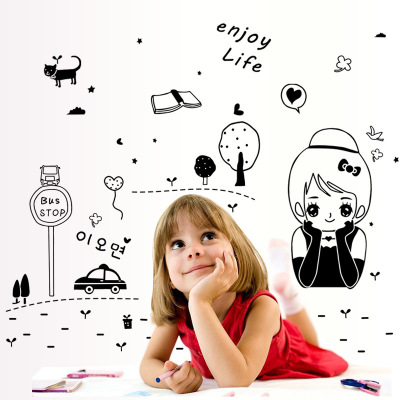 Diy Cartoon Lovely Cute Girl Vinyl Wall Sticker Enjoy Life Quotes