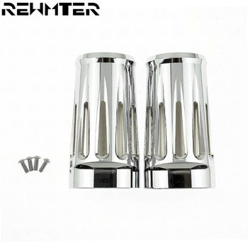 Motorcycle Upper Front Fork Boot Slider Shock Covers Chrome For Harley Touring Road Glide Street Glide FLHR 1980-2013 2014-2016