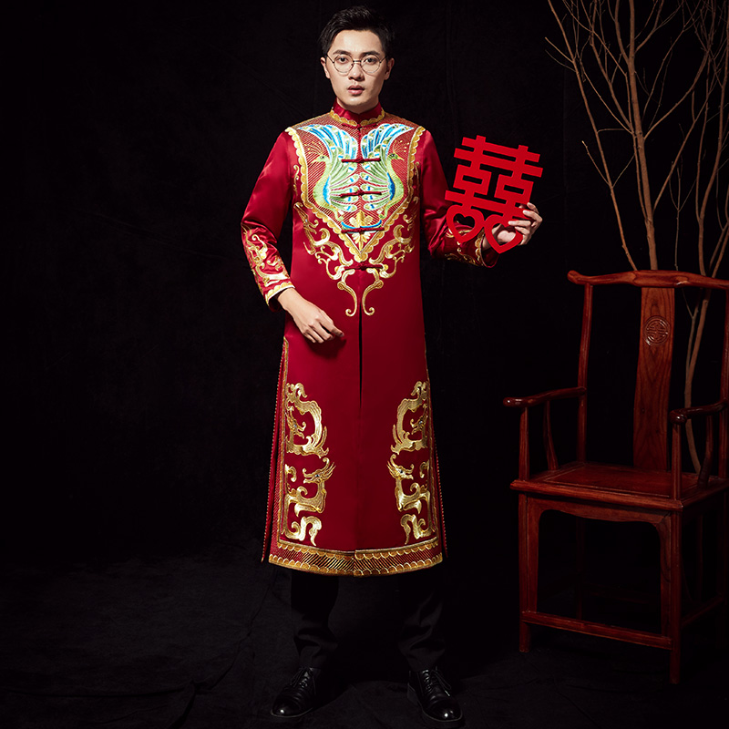 Mandarin Collar Chinese Men Vintage Long Robe Anceint Royal Bridegroom Wedding Clothes Suzhou Embroidery Male Marriage Costume