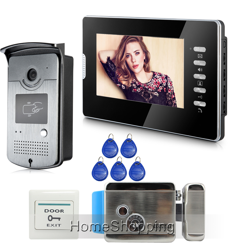 Wholesale Wired 7 Color Screen Video Door Phone Intercom System  RFID Access Camera + Electric Door Lock IN Stock FREE SHIPPING brand new wired 7 inch color video intercom door phone set system 2 monitor 1 waterproof outdoor camera in stock free shipping