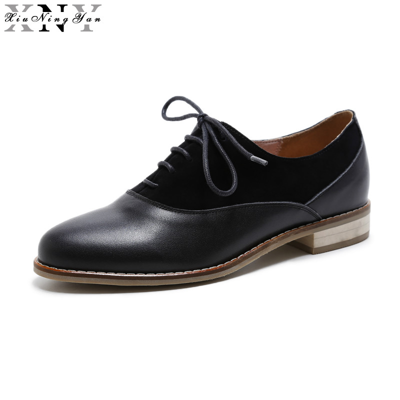 XIUNINGYAN Women Flats Genuine Leather Oxford Shoes for Women Big Size Designer Woman Flat Shoes Round Toe Handmade Big Size women flats oxford shoes big size flat genuine leath vintage shoes round toe handmade black 2017 oxfords shoes for women
