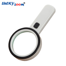 10X Double Optical Lens 12 LED Light Magnifier 1 UV Money Currency Detector Loupe Antique Jewelry Magnifying Glass Free Shipping