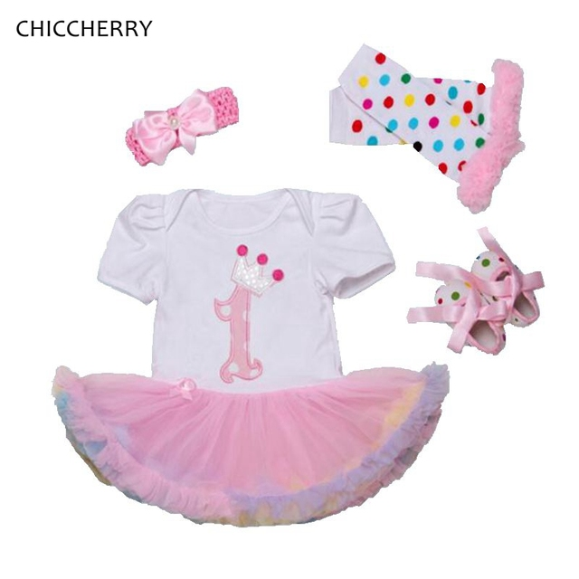 Coroa de aniversário 1 anos baby girl dress princesa rendas petti macacão Headband & Legwarmers Sapatos Set Robe De Bebe Infantil roupas