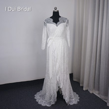 Open Front Wrap Wedding Dress Three Quarter Sleeve Lace Robe Bridal Gown Unique Design Wrap Dress(China)