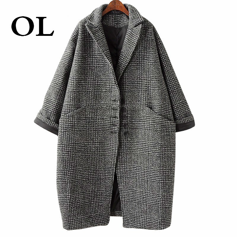[OL] Loose Bat Sleeved Winter Coat Women 2018 Retro Casual Buttons Single Breasted Plaid Pockets Outwear W763