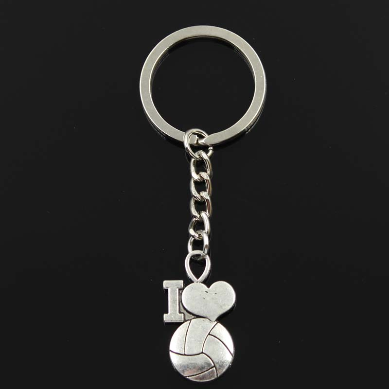 Fashion Keychain 32x17mm I Love Volleyball Pendants DIY Men Jewelry Car Key Chain Ring Holder Souvenir For Gift