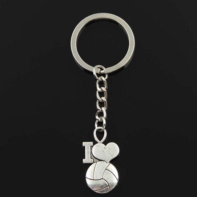 LLavero de moda 32x17mm me encantan los colgantes de voleibol DIY hombres joyería coche llavero anillo soporte de recuerdo para regalo
